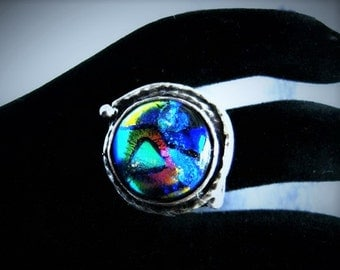 Antique Silver Ring, Dichroic Ring, Statement Ring, Adjustable Ring, Fused Glass Ring, Fused Glass Jewelry, Multicolor Glass, DR05