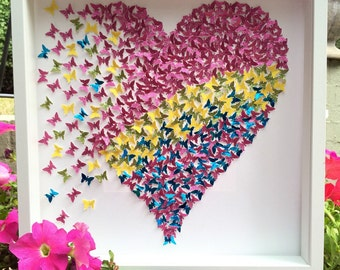 3D paper butterflies wall art| 3D paper art | Pink yellow green & blue butterflies Heart Frame Decor| Hand made| Custom Made| Room Decor |