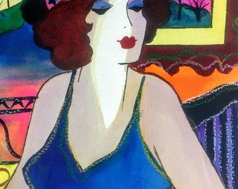 Original PATRICIA GOVEZENSKY Watercolor Painting Portrait of Woman Titled At The Cafe 100% Authentic