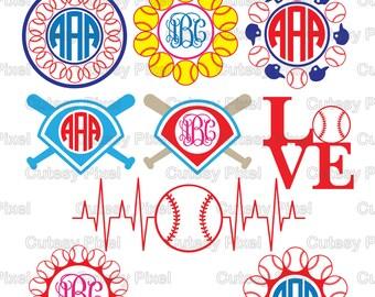 baseball monogram frames svg cutting file baseball svg dxf cricut design space silhouette studiodigital cut files