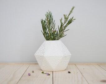 Geometric ceramic short Bud Vase with white crawl glaze