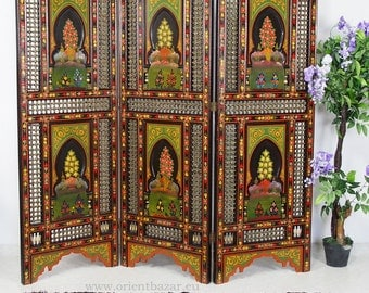 orient vintage wooden Screen room divider partition double-sided   from  Morocco
