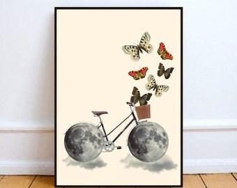 "Bicycle art, surreal collage art, moon print, bike art, butterfly art, bicycle wall art, moon wall art, bike illustration - ""Take a ride""."
