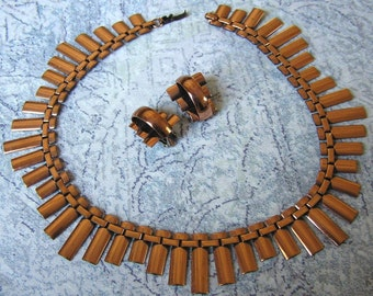 Vintage 1950s Renoir of California Cleopatra style Copper Necklace & Earrings