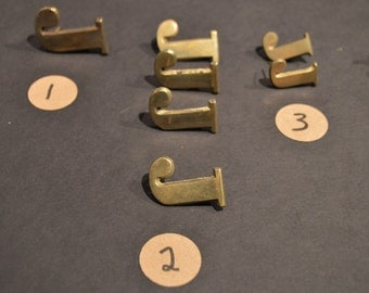 Vintage Solid Brass and Nickel Harness Letters - J