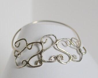 Silver bracelet.  Sterling silver wire design bracelet- cuff bracelet- soldered bracelet- handmade bracelet- statement bracelet- buffalo ny