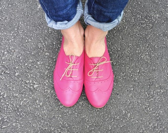 Limehouse - Womens Brogues, Leather Oxfords, Summer Shoes, Leather Shoes, Pink shoes, Magenta, Custom Shoes, FREE customization!!!