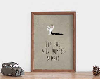 Where The Wild Things Are Quote Print // Kids Room Quotation // Let The Wild Rumpus Start // Variety of Colors // Sizes