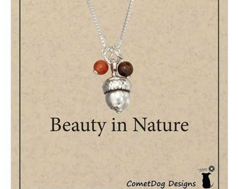 Sterling Silver Autumn Acorn Pendant Necklace with Brown and Orange Beads