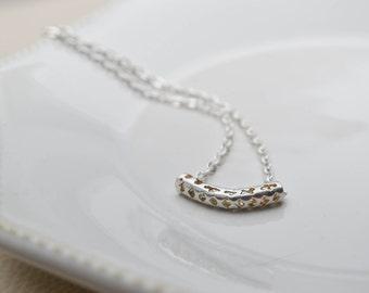 Minimalist necklace - silver round bar