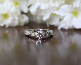 Antique Style, 5mm Forever One Moissanite & Diamond Engagement Ring - Engagement Ring Moissanite - Engagement Rings for Women 14k White Gold