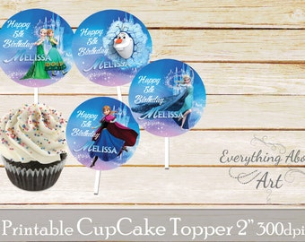 Frozen Cupcake toppers printable, Frozen birthday, Printable cupcake toppers, Birthday party supplies, Frozen Cupcake toppers
