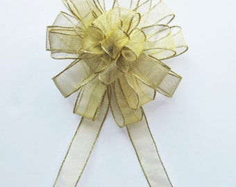 Sheer Wired Bow - Gold - Wired Bow - 24 Loops