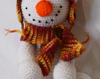"Adorable 12"" Crocheted Snowman"