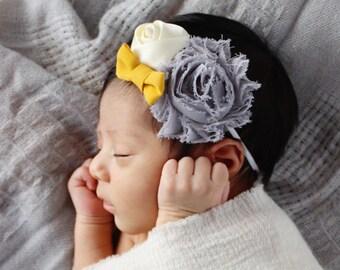 Vintage mustard grey ivory shabby chic chiffon flower headband for newborn baby girl
