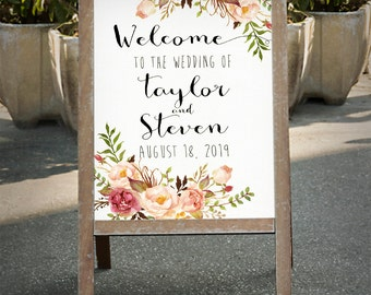 Printable Wedding Sign, Welcome Wedding Sign, Floral Wedding Sign, Customized Sign, Boho Bohemian Wedding Sign, Custom sign - PF-18