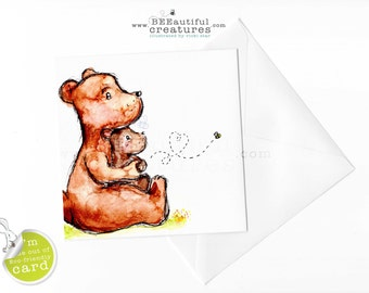 Bear hug, cute bears,mum and cub,gran and child,card for kids,card from kids,watercolour bear,birthday,thank you,hello,sorry,love,bee,cute
