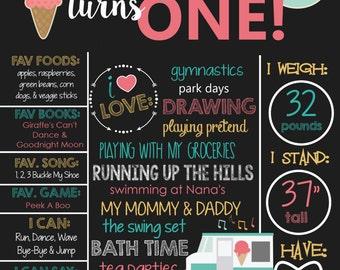 Ice Cream Theme Birthday Chalkboard Sign- Printable Birthday Chalkboard Poster- Birthday Board- Personalized Custom Sign- Teal- Pink
