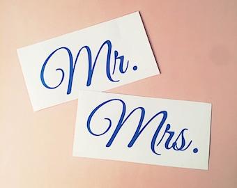 Mr & Mrs Decals - Wine Glass Decals - Decals for Wedding - Wedding Decals - Wedding Stickers - Mr and Mrs Stickers - Mr and Mrs