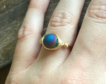 Druzy Wire Wrapped Ring, Gold Druzy Ring, Wire Wrapped Ring, Gold Ring, Wire Wrap Ring, Druzy Rings, Druzy Gold Ring, Wire Wrapped Gold Ring