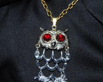 Vintage Dangle Owl Necklace