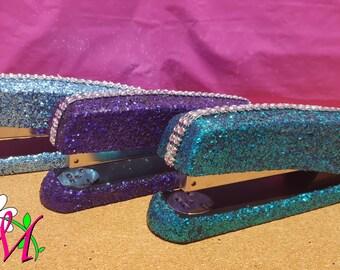 Glitter Desk Stapler, Office Supplies, Teacher Gifts, (Your Choice of Color), Red Stapler, Silver Stapler, Purple Stapler, Pink Stapler