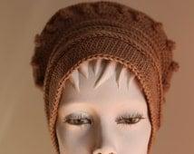 Pure virgin wool 100% handmade knit beige-brown Lagenlook beautiful beanie hat.