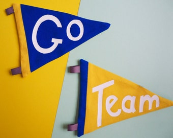 Go Team Pennants - Set of Two Retro Style Fabric Sports Pennants / Flags in Yellow & Blue