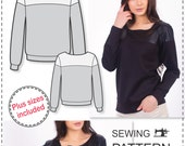 Sweatshirt Sewing Pattern - Sewing Tutorials - Sewing Patterns - Womens Sewing Patterns - Sweatshirt Pattern - Plus Size Patterns - Sew Easy