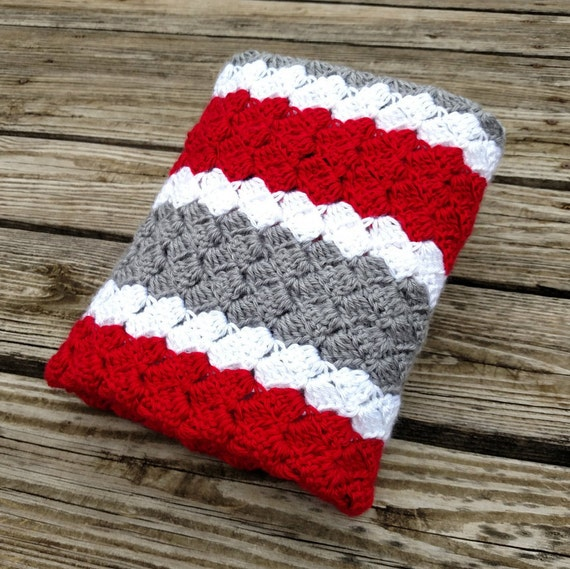 Ohio State Striped Crochet Blanket Knit Baby Afghan