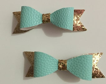 Mint and gold glittered felt hair bows