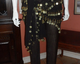 Plus Size Belly Dance Black and Gold Leggings Size 18/20