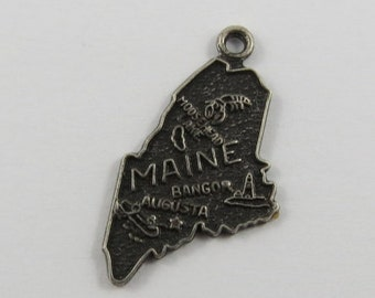 Map of Maine State Sterling Silver Vintage Charm For Bracelet