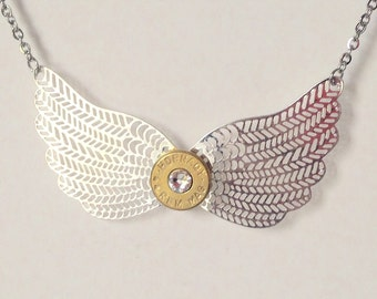 Silver Wings and Brass 44 Caliber Bullet Necklace, Women's jewelry, Up cycled bullets, Women's necklace, Handmade jewelry, Unique jewelry