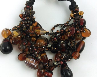 Golden Brown Glass Cluster Bead Bracelet