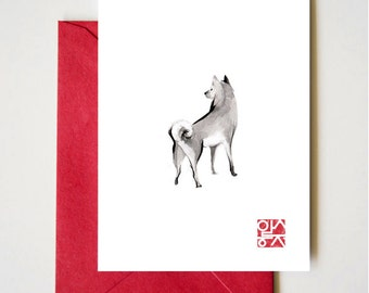 Shiba Inu Art Card, Unique Sumi-e Painting, Japanese Cute dog Couple breed Ink Animal Illustration B&W Asia Zen Birthday Poster,July 4th