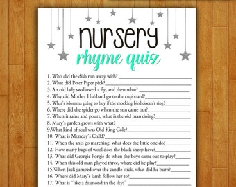 Baby Shower Game Nursery Rhyme Quiz - MINT and SILVER - Printable Digital Instant Download Stars Gender Neutral Pretty Baby Blue Boy /Girl