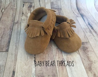 Tan Suede Leather Baby Moccasins Fringe