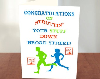 Broad Street Run - Congratulations Cards for a Runner - Good Luck Card - Runner Card - Broad Street 10 Miler - Good Luck on Your Race