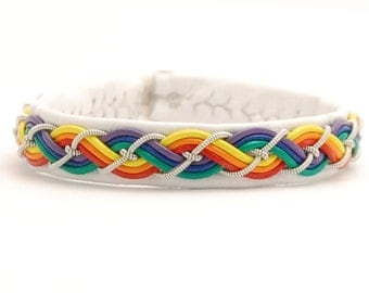 Swedish Sami Bracelet of pewter thread with 4 % silver, and reindeer leather - PRIDE