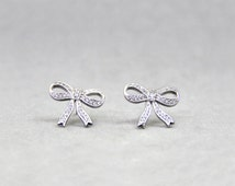 Lovely Micro Pave Open Ribbon Stud Earrings-Cute Bow Tie Ribbon Design Earrings-Pave Set CZ-Anniversary Gift-Everyday Wearing-E6055515