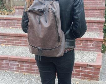 Grey leather backpack,Grey oil Leather Rucksack, weekend backpack, elegant backpack for men and women