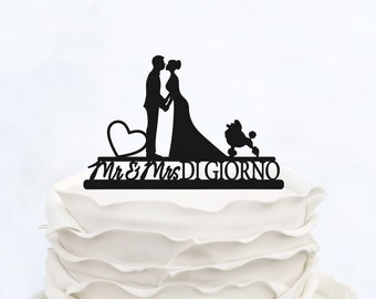Wedding Cake Topper With Surname_Mr & Mrs Topper With Dog and heart_Groom And Bride Cake Topper_Script Cake Topper_Unique cake topper