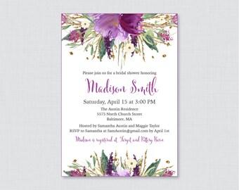 Bridal Shower Invitation Printable or Printed - Purple Watercolor Flowers Bridal Invites, Purple and Gold Garden Shower Invitation 0008