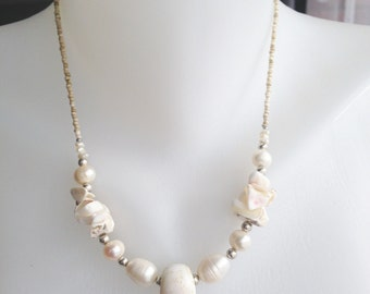Shell pearl necklace  White necklace Freshwater pearl necklace
