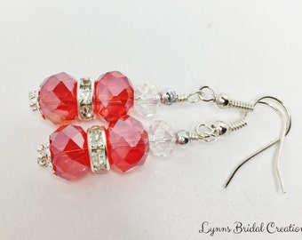 Red Bridesmaid Earrings Red Crystal Drops Wedding Party Gift Christmas Earrings Red Bridal Dangles Gift for Wife Mother of the Bride Gift