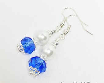 Blue Dangle Earrings Royal Blue Crystal Drops Blue Bridesmaid Gift Mother of the Bride Gift Blue and White Drops Blue Wedding Jewellery