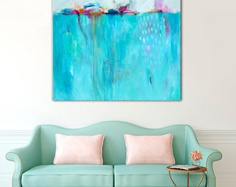 LARGE blue abstract painting, large abstract wall art, large grey abstract painting, large art for living room, contemporary abstract canvas
