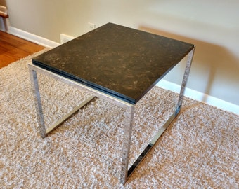 RESERVED FOR LIEPERT - Mid Century Milo Baughman Side Table with Marble Top