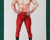 Wrestling Kirk. Original watercolour and acrylic painting of Captain Kirk from Star Trek.